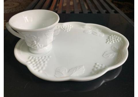 Vintage Colony Harvest milk glass snack plate & tea cup