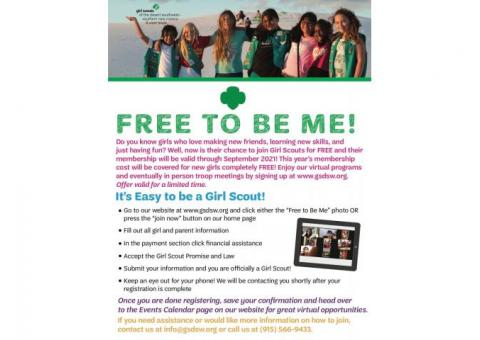 """Girl Scouts """"Free to be Me"""""""